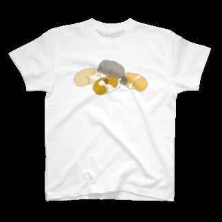 nins・にんずの4匹のモルモット(ブラウン) Tシャツ