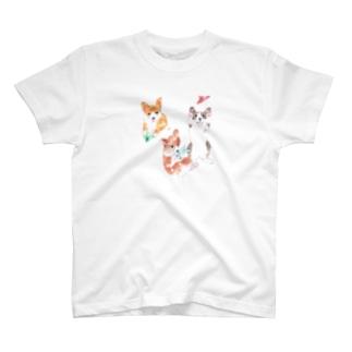 ワンコと紙飛行機 Tシャツ