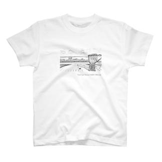 カフェから宮古の海を望むジャンベ Tシャツ