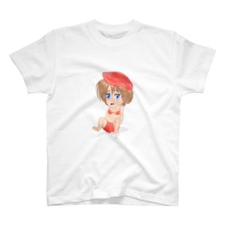 赤ベレー水着女学生 Tシャツ