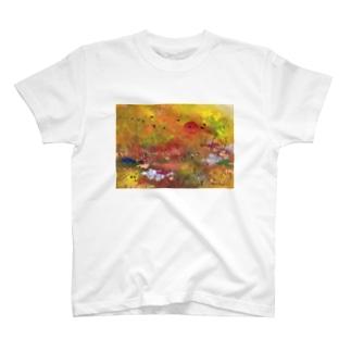 日沈み行く釧路湿原 Tシャツ