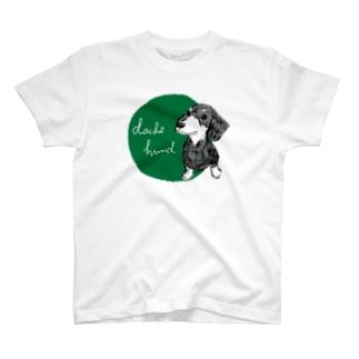 ダックスフント green Tシャツ