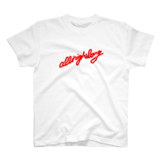 all night long -red- Tシャツ