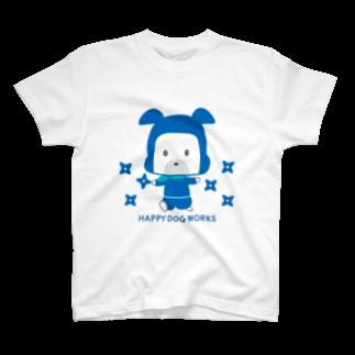 HAPPYDOG製作所@SUZURI支店のHAPPY DOG WORKS 忍者_シュリケンA Tシャツ
