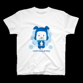 HAPPYDOG製作所@SUZURI支店のHAPPY DOG WORKS 忍者_ドロンB Tシャツ