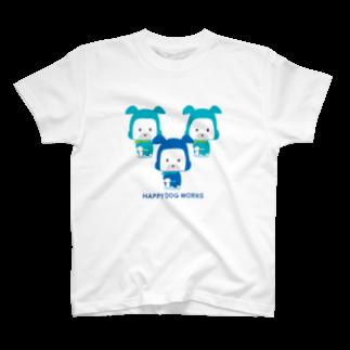 HAPPYDOG製作所@SUZURI支店のHAPPY DOG WORKS 忍者_御意 Tシャツ