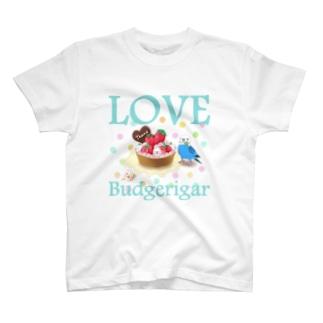 セキセイインコらぶ3(ブルー) Tシャツ