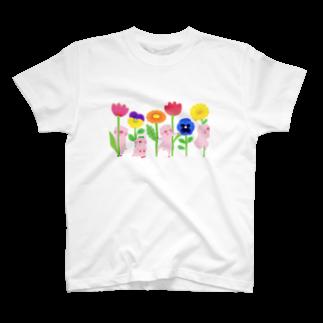 はだかんぼうのコブタたちのブタとお花Tシャツ