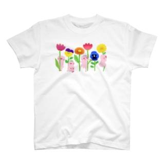 ブタとお花 Tシャツ