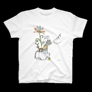 ほっかむねこ屋@デザフェス47  j158のかっぷねこのしあわせTシャツ
