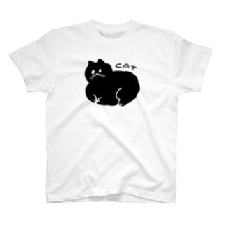 丸い黒猫 Tシャツ