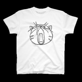 HUMMING BIRD DESIGNのHBDあくびねこ(黒インク) Tシャツ