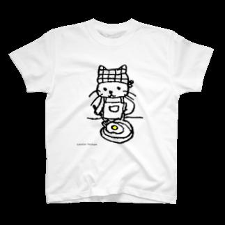 ほっかむねこ屋@ 11/10 11 デザインフェスタ@東京ビッグサイト J68のめだまやき焼くねこ Tシャツ