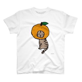 みかんかぶりねこ Tシャツ