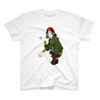 喫煙者の女の子 Tシャツ
