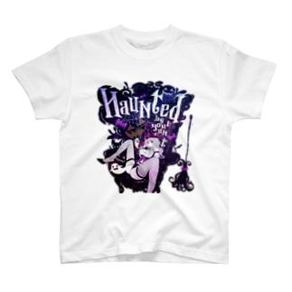 HAUNTED ハロウィンお化けと魔女の黒椅子 Tシャツ