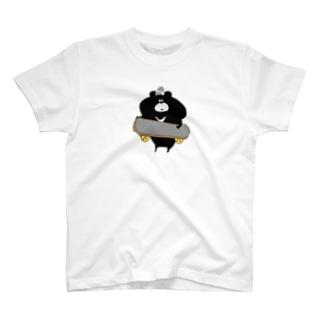 黒くまくんとスケボー Tシャツ