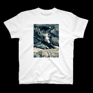 古武術 天心流兵法の猫侍シャツ Tシャツ