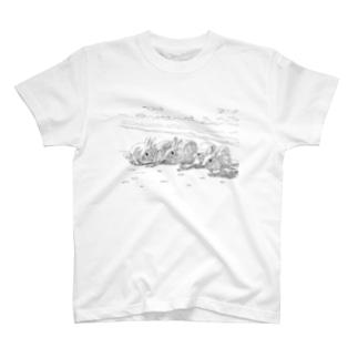浜辺のうさぎたち Tシャツ