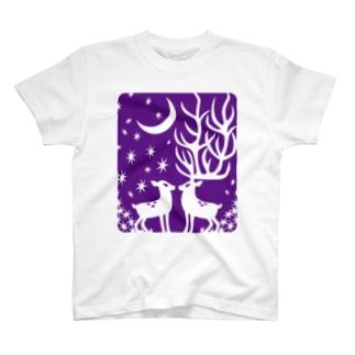 鹿・ぱーぷる Tシャツ