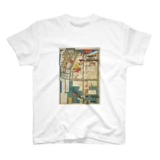 深川絵図全体 Tシャツ