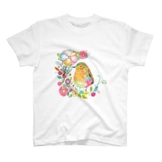 花と鳥 Tシャツ