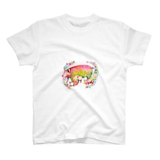 ブタの親子 Tシャツ