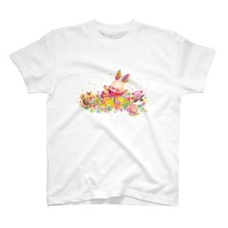 ウサギ 人生を楽しむこと Tシャツ