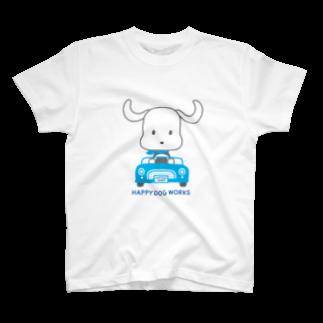 HAPPYDOG製作所@SUZURI支店のHAPPYDOG【LINEスタンプ】ドライブTシャツ