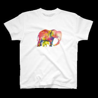 サトウレイナの赤いゾウと黄色い子ゾウTシャツ