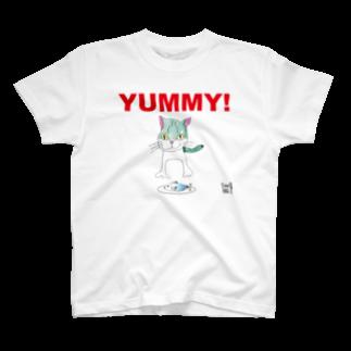 ★いろえんぴつ★のねこさんとおさかなさん Tシャツ