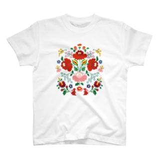ハンガリー カロチャ刺繍風 Tシャツ