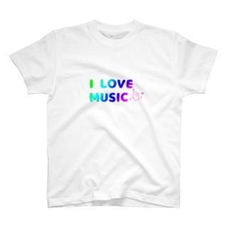 白いハニワ【music(虹)】 Tシャツ