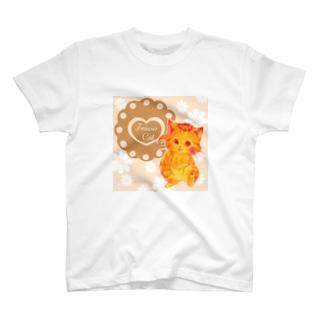 花摘み猫 Tシャツ
