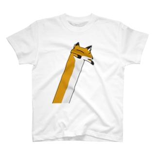 斜めにながいきつね Tシャツ