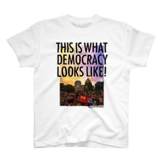 白生地用 WHAT'S DEMOCRACY? カラー Tシャツ