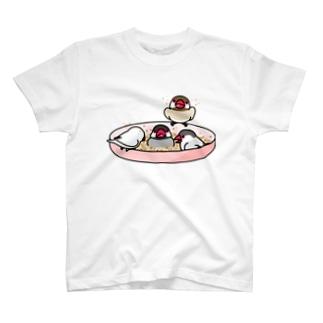 なかよし文鳥【まめるりはことり】 Tシャツ