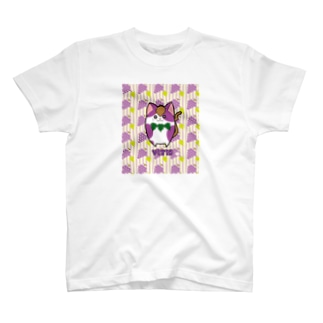 [フルーツ猫シリーズ]ぶどう猫のヴィーティス・縁取りver. Tシャツ