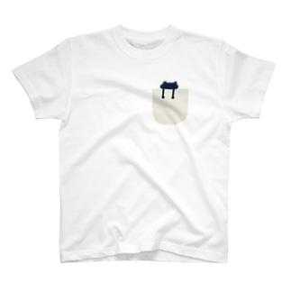 pocket シリーズ(frog_navy) Tシャツ