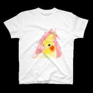 まめるりはことりのオカメインコ ルチノー【まめるりはことり】 Tシャツ
