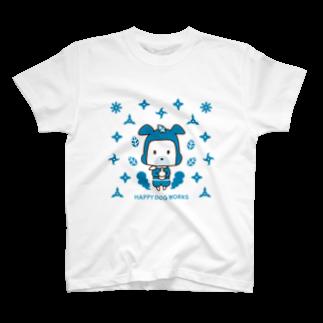 HAPPYDOG製作所@SUZURI支店のHAPPYDOG【LINEスタンプ】忍者02Tシャツ