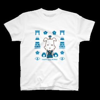 HAPPYDOG製作所@SUZURI支店のHAPPYDOG【LINEスタンプ】武士01Tシャツ
