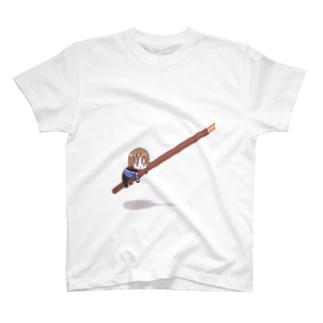 ポッキーにしがみつくきくっちー Tシャツ