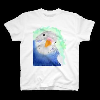 まめるりはことりのセキセイインコ オパーリン大【まめるりはことり】Tシャツ