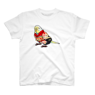 ごきげん着物セキセイインコ【まめるりはことり】 Tシャツ