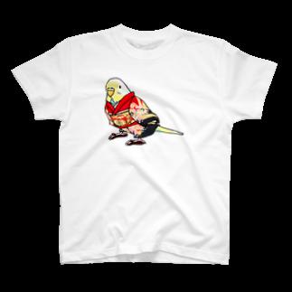まめるりはことりのごきげん着物セキセイインコ【まめるりはことり】 Tシャツ