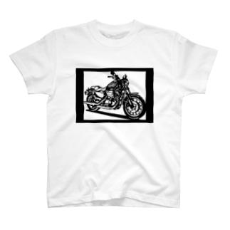 HARLEY-DAVIDSON スポーツスターXL883R切り絵デザイン Tシャツ