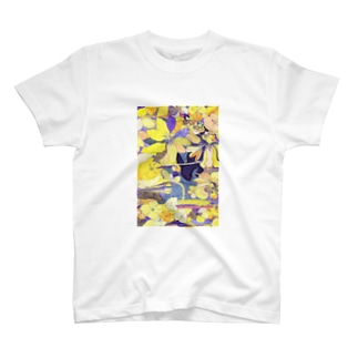 「花畑」黒うさぎ Tシャツ