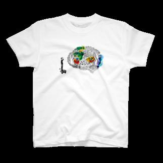 ウチダヒロコ online storeの遺伝子から思考へTシャツ