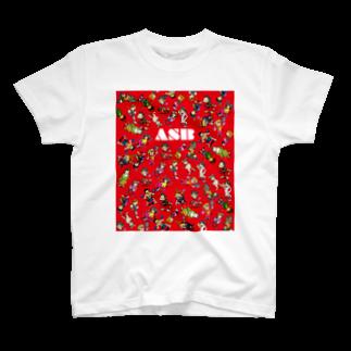 ASB boxingclub SHOPのASBスタッフキャラクターアイテム(赤)Tシャツ